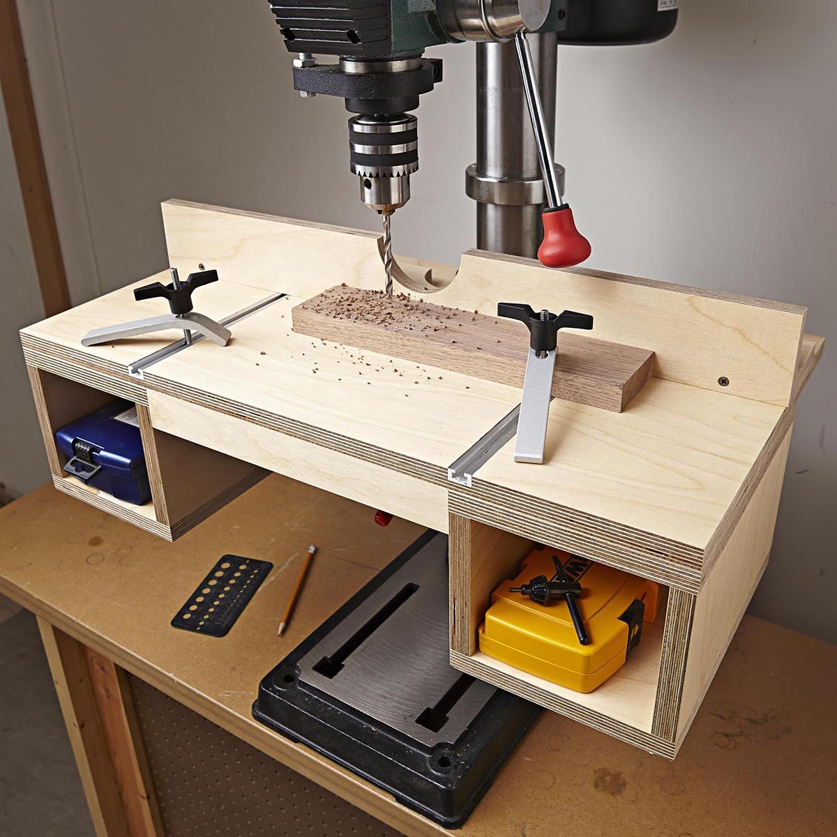 Do it all drill press table woodworking plan instantly up for Simple workshop table