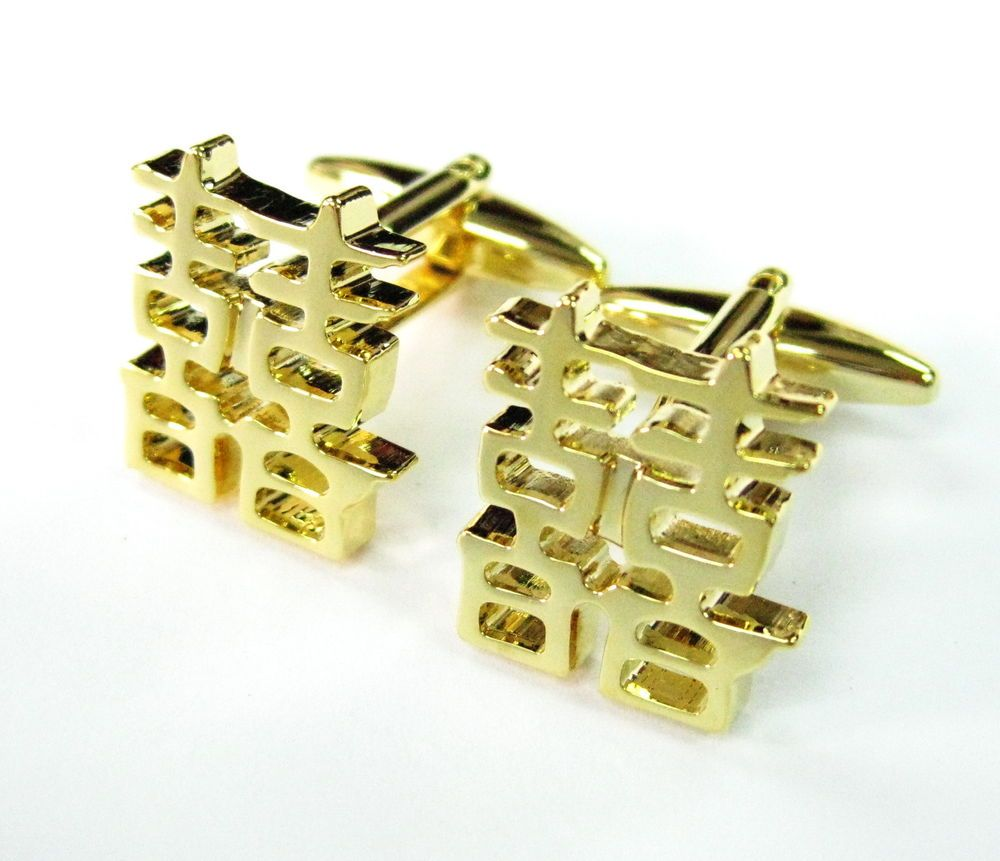 3D Gold Chinese Double Happiness Cufflinks Wedding Cuff Links 100 for 7 items
