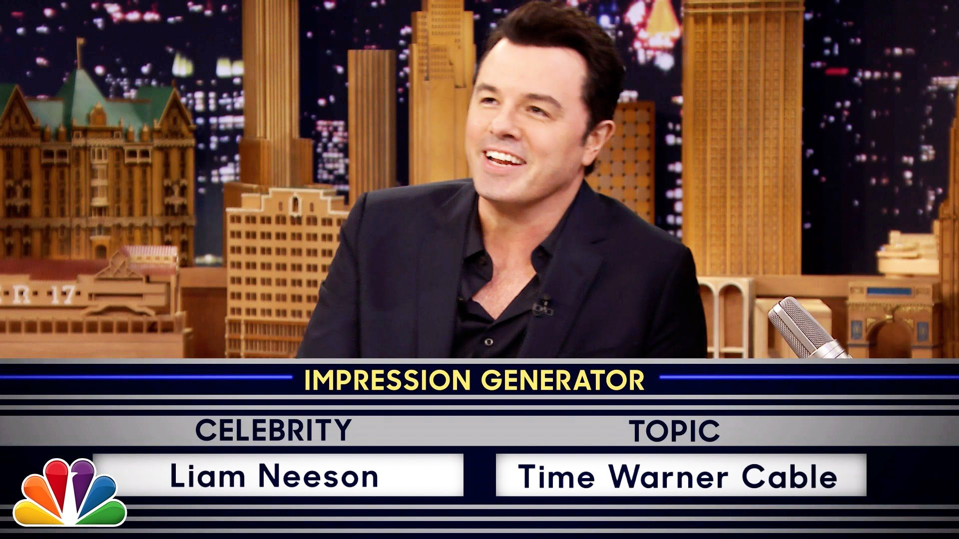 Wheel of Impressions with Seth MacFarlane. I was laughing