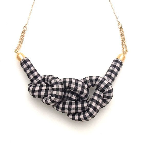 Handmade Fabric and Felt Jewelry by HOMAKO #ropeknots Gingham Rope Knot Necklace - Black x Grey #ropeknots