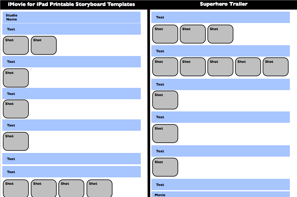 Imovie For Ipad Printable Storyboard Templates  HttpIpadtrial