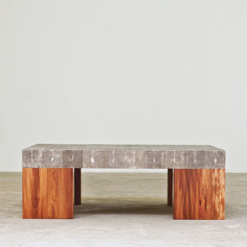 Mighty Coffee Table With Shagreen Covered Blocks And Reclaimed Wood Base [ 1024 x 1024 Pixel ]