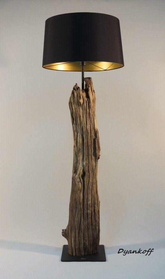 OOAK handgefertigte Stehlampe, Art Holz stehen, drum Lampenschirm, verschiedenen Farben Lampenschirm
