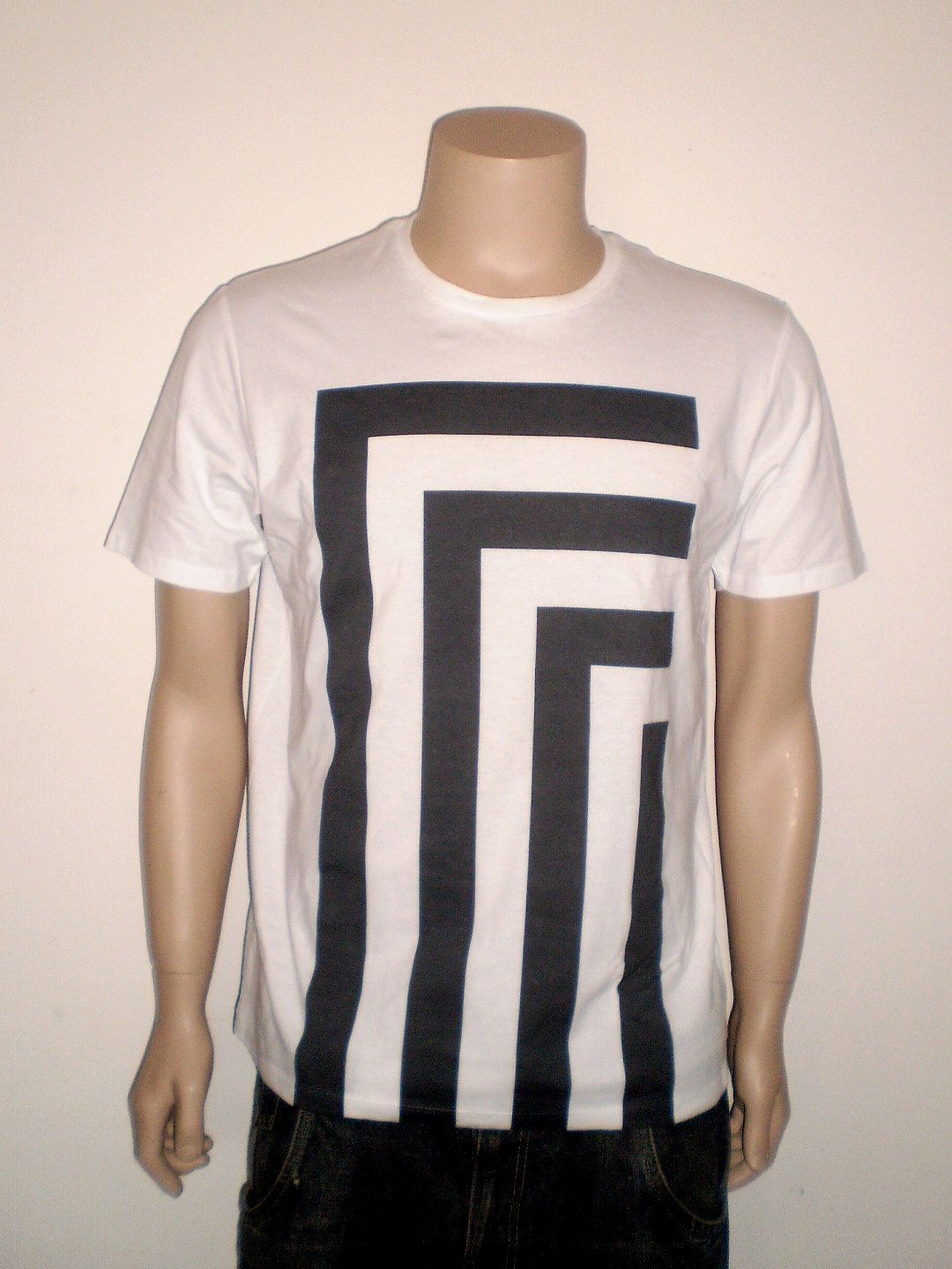 White t shirt effect - Optical Black And White T Shirt For Men Burn Out Effect Tee Abstract