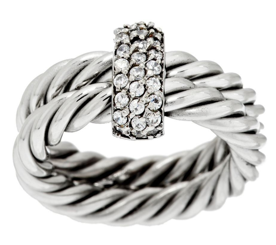 Qvc Steel By Design Twisted Rope Crystal Accent Ring J287851 Sizes 6