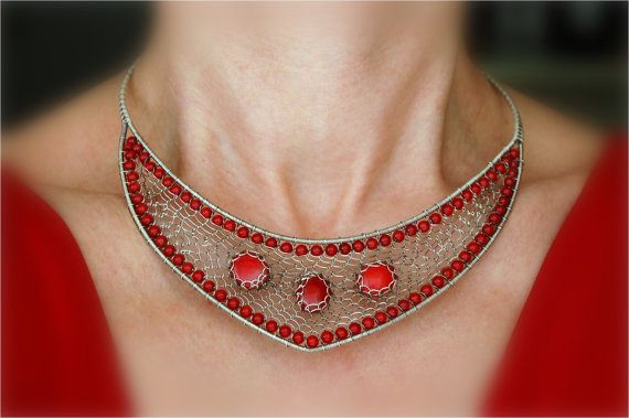 Corals with Silver-filled Wire necklace by WireFantasies
