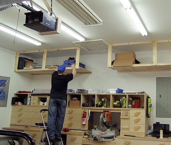 Diy Garage Ceiling Shelves Plans With Lumber Home Interiors