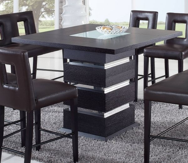Wenge Frosted Center Glass Wood Bar Table W Square Shape Dining Table Design Modern Contemporary Kitchen Tables