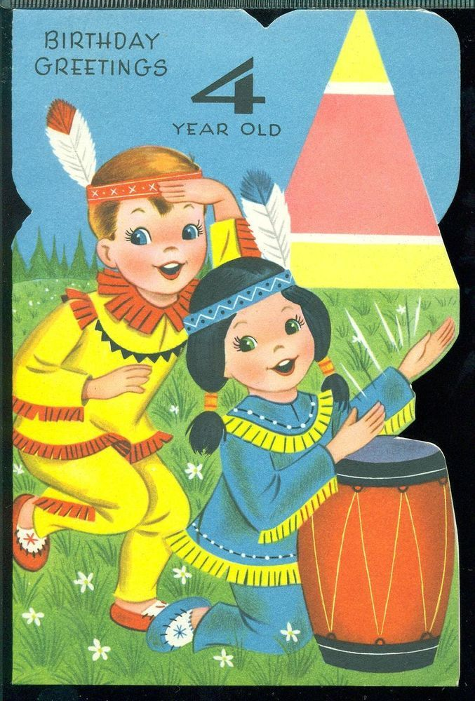 Vintage Greeting Card BIRTHDAY GREETINGS 4 YEAR OLD Boy Girl Dressed As Indians