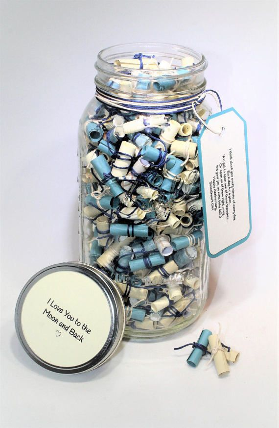 Customized 64 Oz Glass Mason Jar Full Of 365 Personalized Messages Written By You Perfect For Loved One De Diy Gifts For Boyfriend Happy Jar Boyfriend Gifts