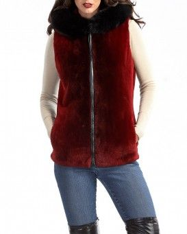 Sheared Beaver Vest with Black Fox Hood Trim in Scarlet