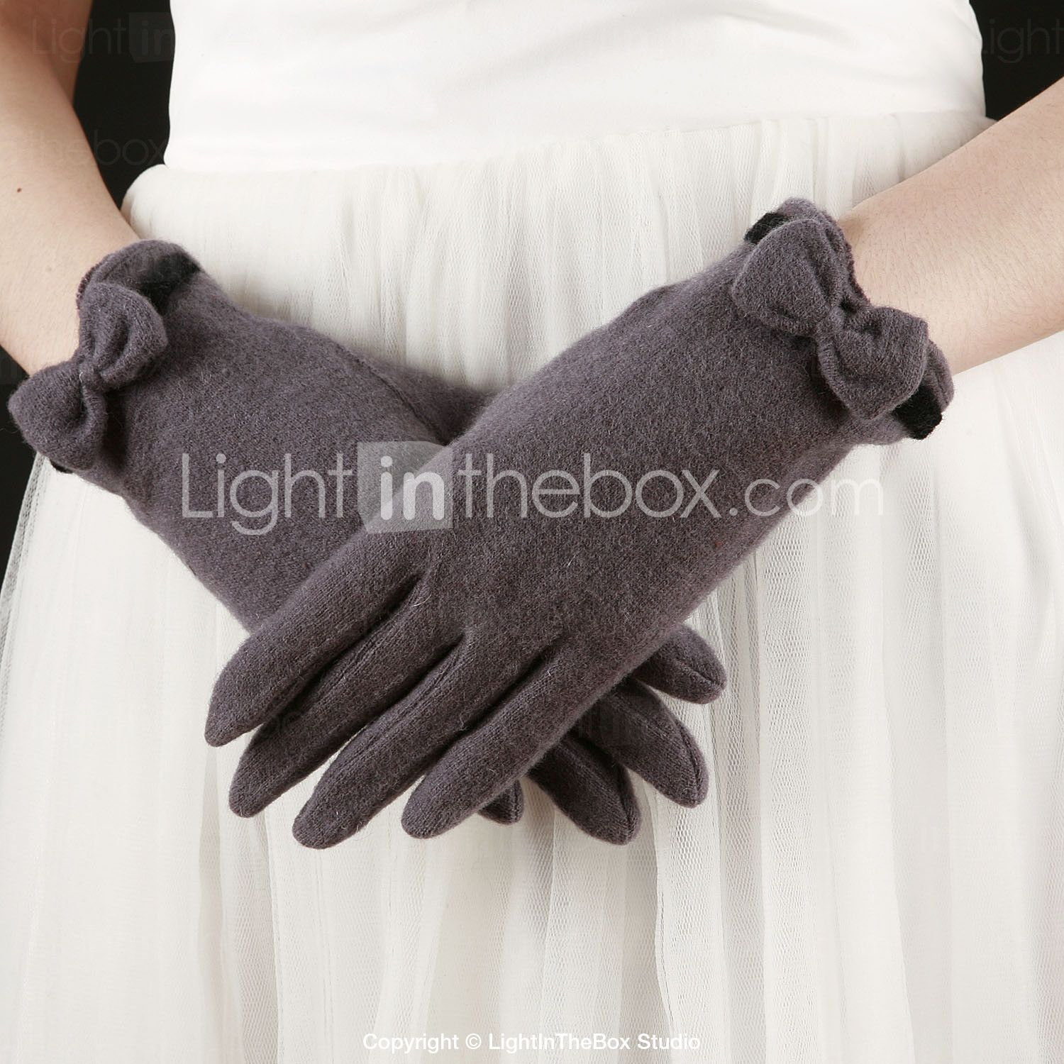 Wool Fingertips Wrist Length Party/Evening Women's Gloves With Bow (More Colors) - USD $ 9.99