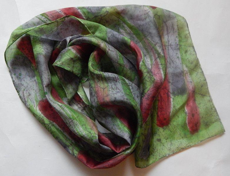 Silk Scarves – Long wax batik silk scarf grey green red – a unique product by EveSilkBatik on DaWanda