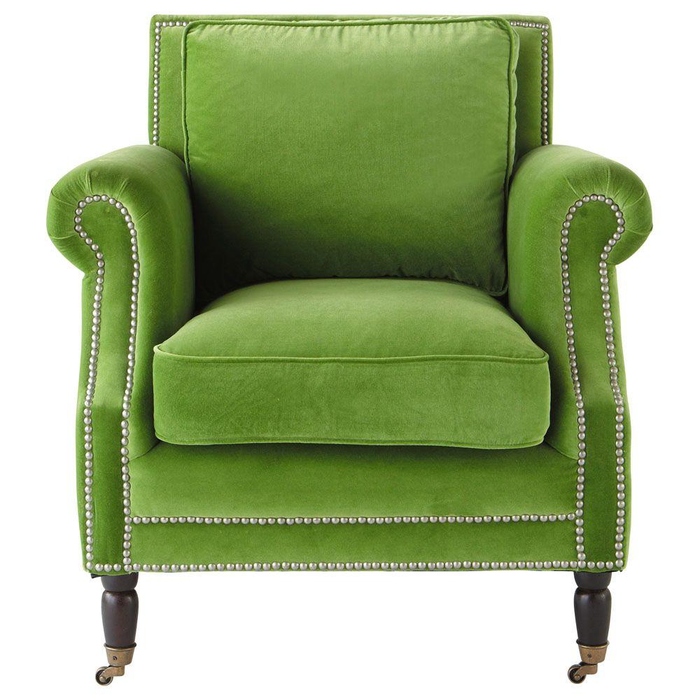 Wonderful Velvet Armchair In Green Baudelaire | Maisons Du Monde
