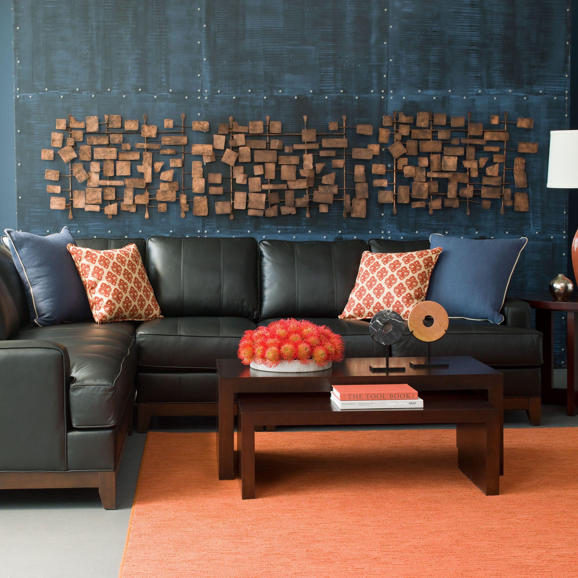 Orange interiors. Blue and orange Ethan Allen living room ...
