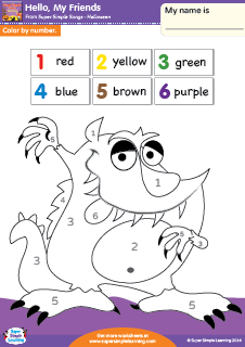 hello my friends color by number halloween worksheet from super simple learning
