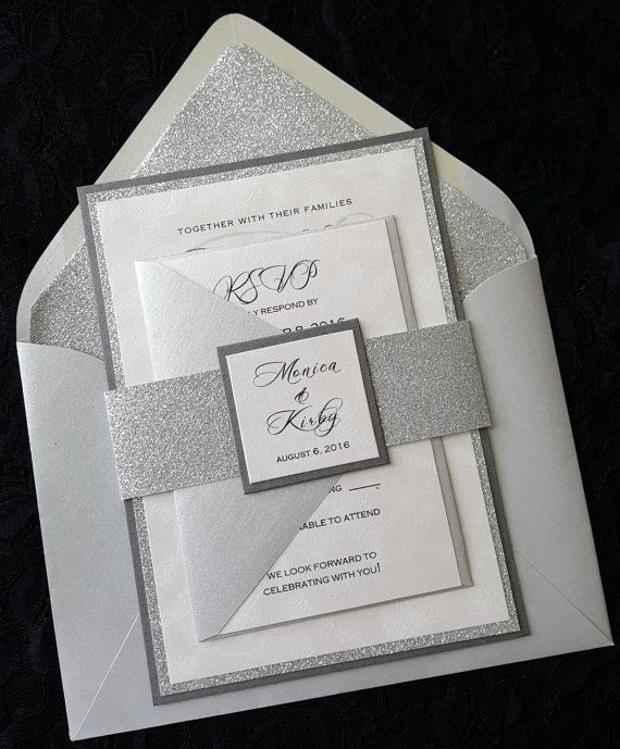 Silver Wedding Invitations Wording: Glitter Wedding Invitation, Silver Glitter Wedding