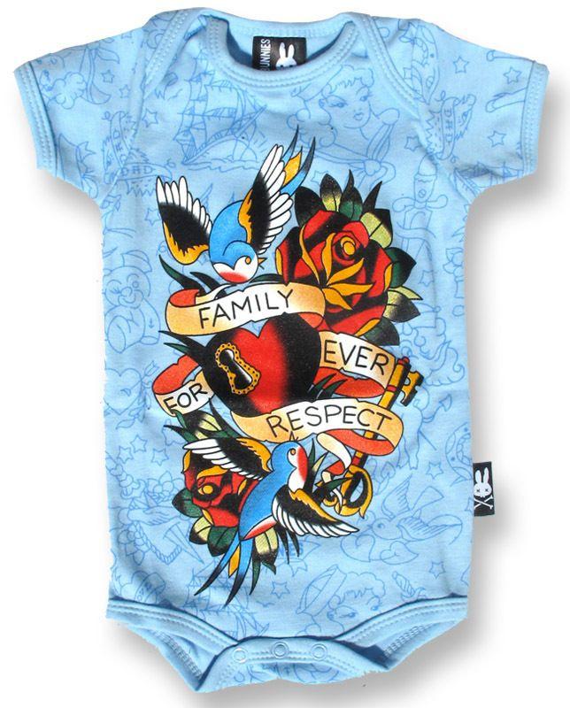 Bolts /& Skulls Blue OnePiece Baby Romper Tattoo Rockabilly Punk Alternative Rock