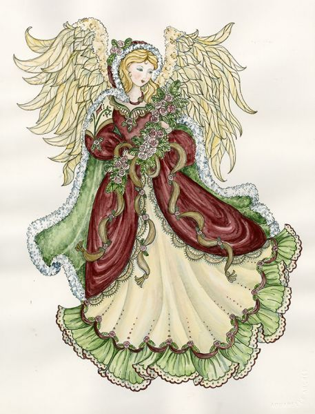 Christmas ~ Angel With Roses by Shelly Rasche