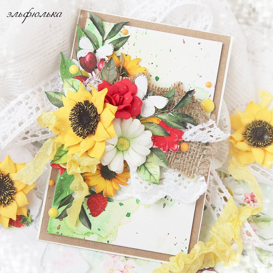 Цветы для открыток ручная работа, новорожденным цветы