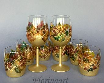 Festive win glasses Christmas Glasses Winter Wedding by FLORINAART
