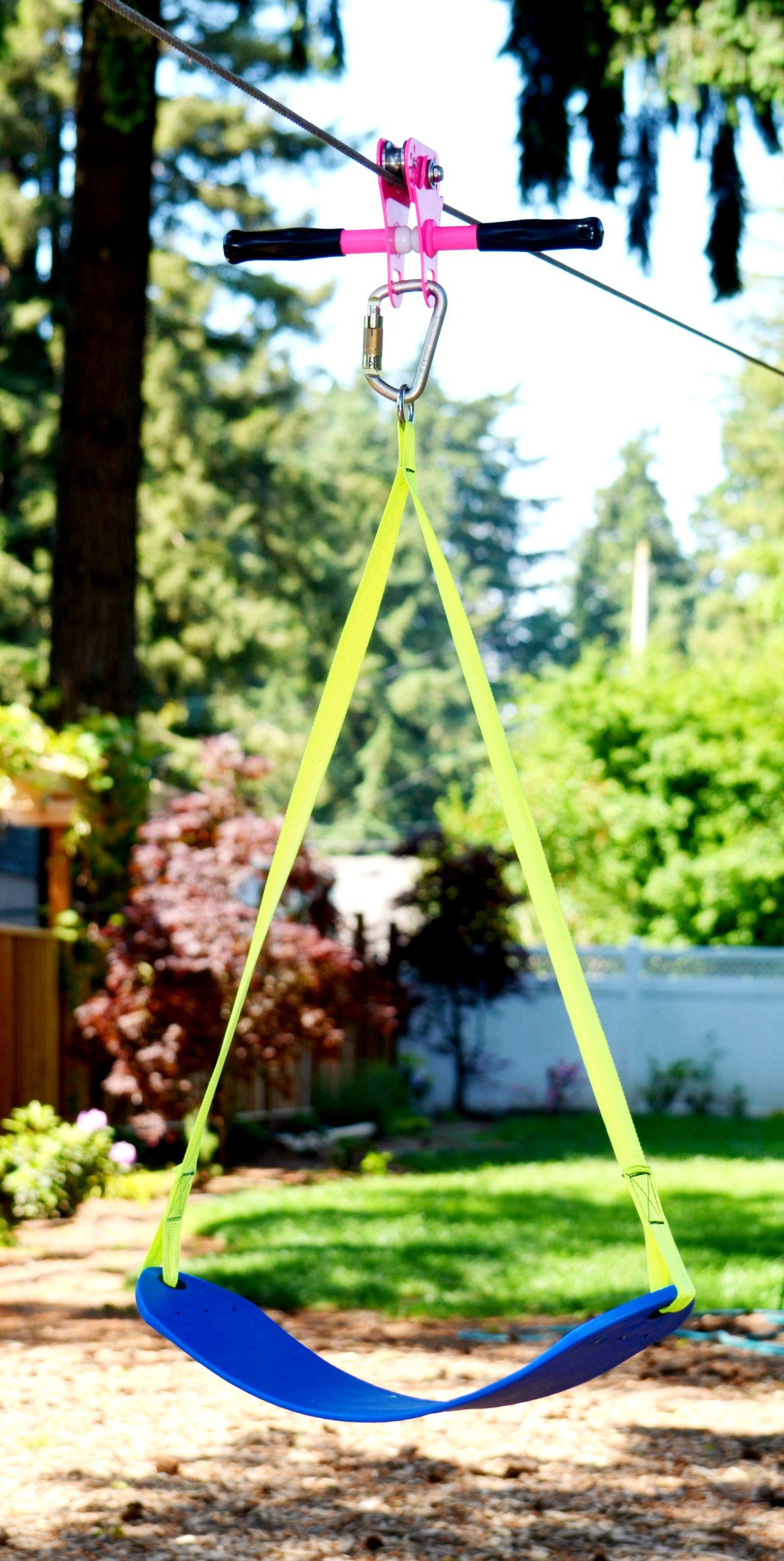 Brighten Up Your Zip Line This Summer Diy Playground Zip Line Backyard Tree House Kids Diy backyard roller coaster kit