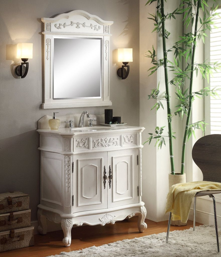 Adelina Inch Antique White Single Sink Bathroom Vanity Bathroom - 33 inch bathroom vanity