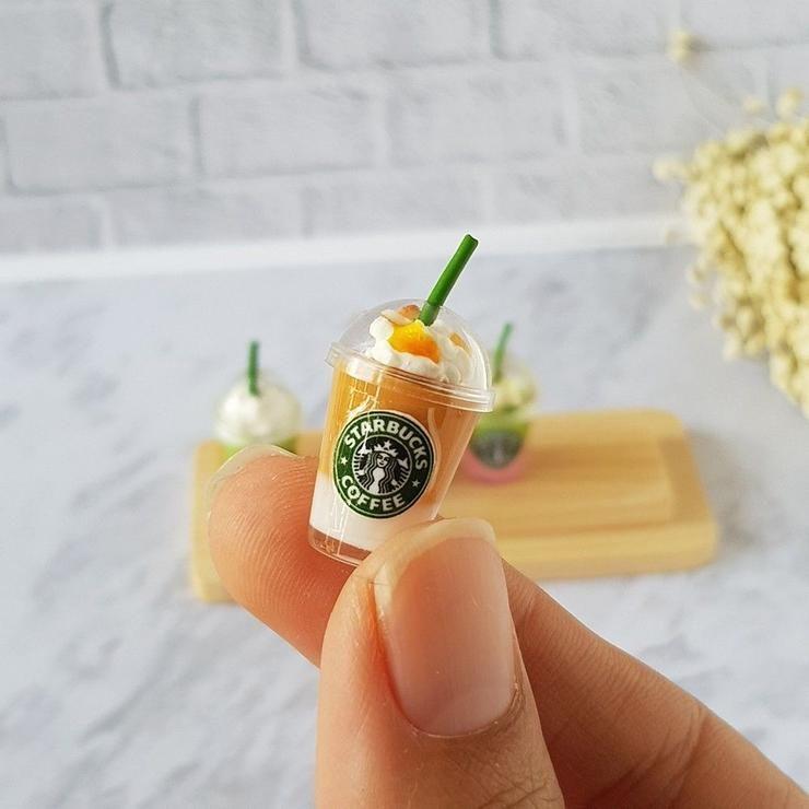 4 Mugs of Starbucks Cappuccino Dollhouse Miniatures Food Supply Deco