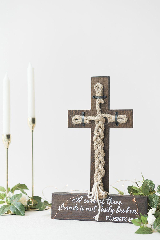 Unity Cross Strand of Three Cords Wedding Sign Bible