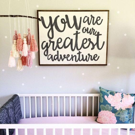 You Are Our Greatest Adventure - Rustic Nursery Framed Artwork Hand ...