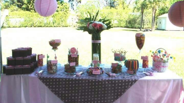 Jill's It's a girl Baby Shower by Party Elegance Events. #itsagirl #pinkcandybuffet #pinkcandystation
