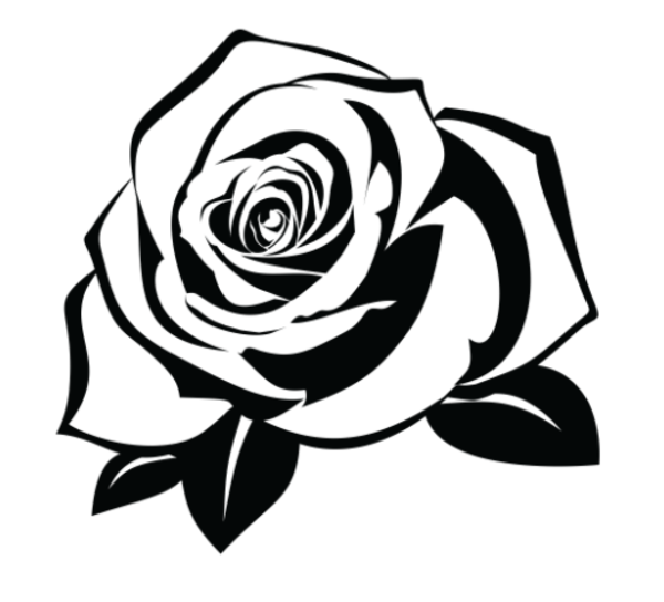 Rose Temporary Tattoo Pack Of 2 Black Silhouette Flower Drawing Rose Stencil