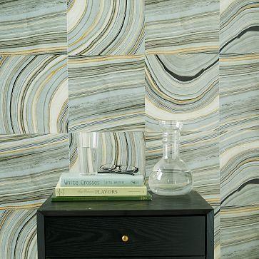 Strata Marble Tile Wallpaper #westelm   Powder bath