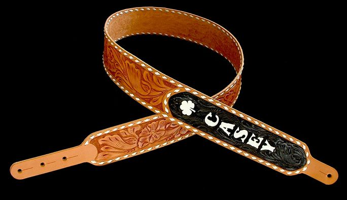 """El Dorado Guitar Accessories custom-order """"Bakersfield"""" model strap.  Hand-tooled harness leather, hand-painted lettering and background."""