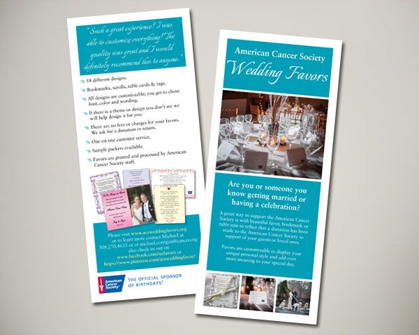 american cancer society wedding favor brochure insert graphic