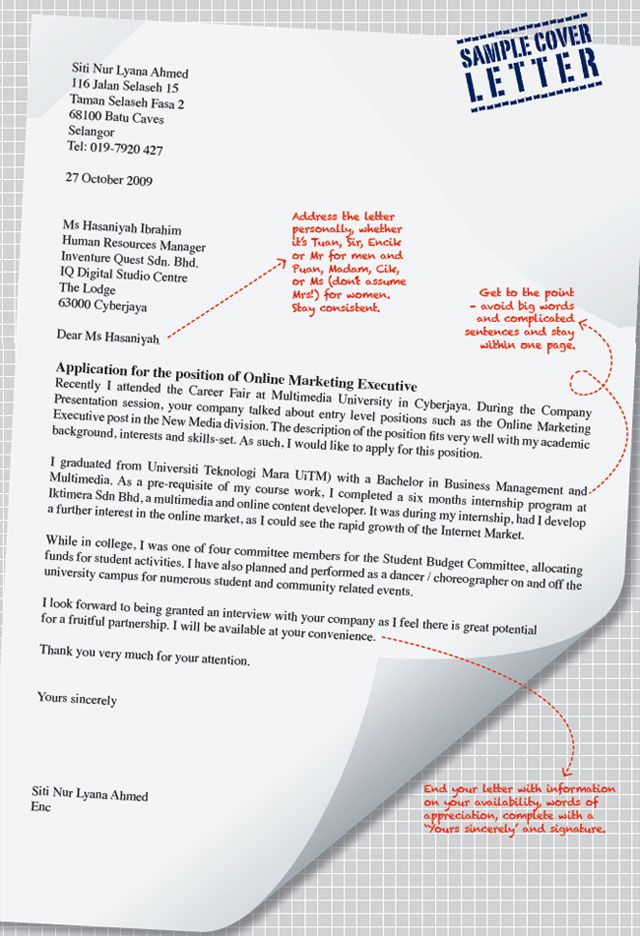 Sample Cover Letter | cover letter | Cover letter for resume ...
