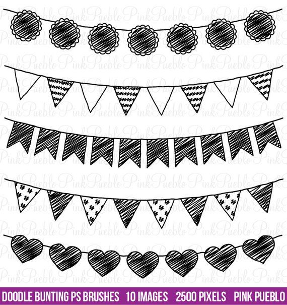 Doodle Bunting Photoshop Brushes Doodle Flag Banner Ribbon Photoshop Brush Commercial And Personal Use Clip Art Doodles Doodle Art