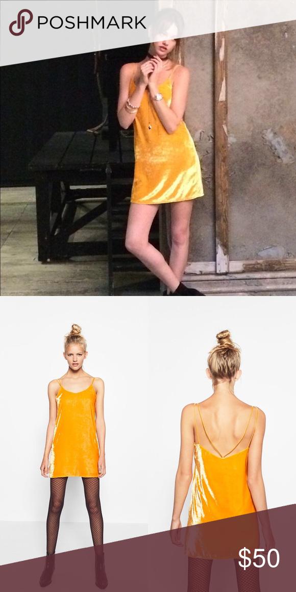832a9cd87abc NWT Zara Short Yellow Velvet Cami Dress Size Lrg NWT Size Large Beautiful Vibrant  Yellow with slight orange undertone coined grapefruit Yellow Zara Dresses