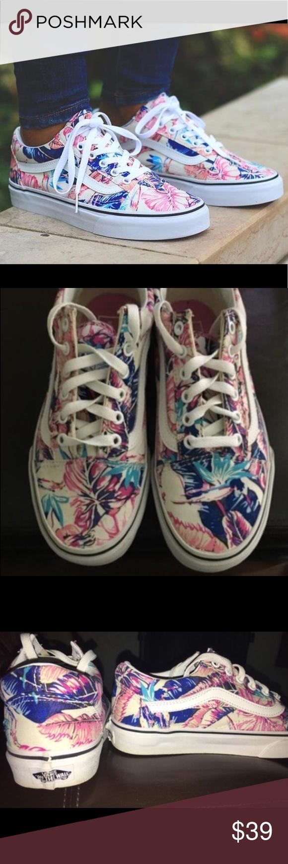 Vans Old Skool tropical Floral sneakers 6.5 Little too big