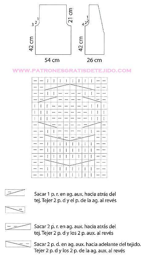 MOldes y diagrama de punto trenzado para chaleco | CROCHET ...