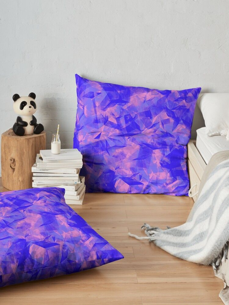 'geometrical cubist abstract shapes and forms in pink and blue' Floor Pillow by IvyArtistic