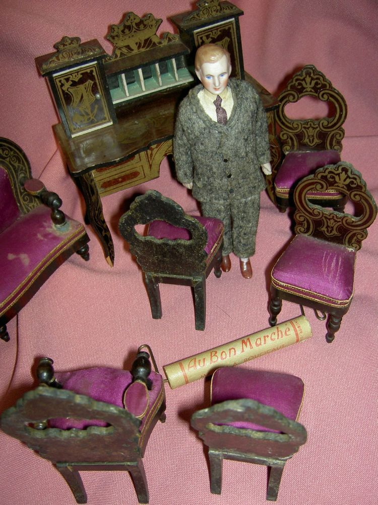 Fine French Boulle antique 8-piece dollhouse furniture set orig.paint/upholstry  #AUBONMARCHE