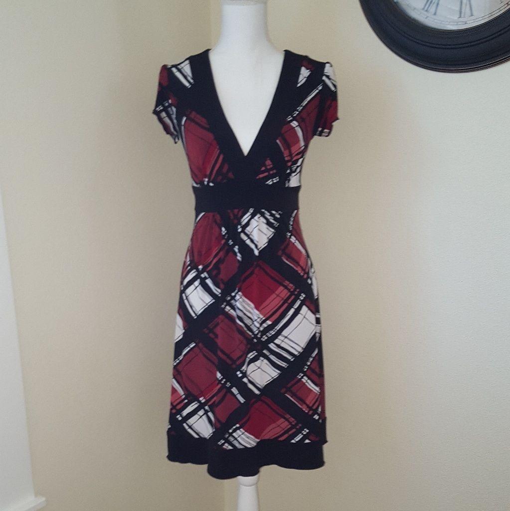 Black , Red And White Design V-Neck Dress