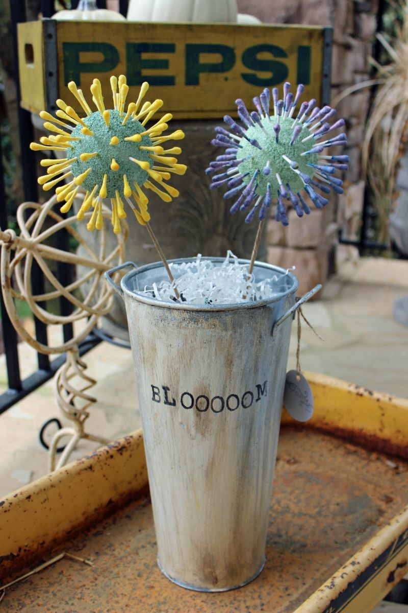 spiky cotton swab flowers | pretty clever words