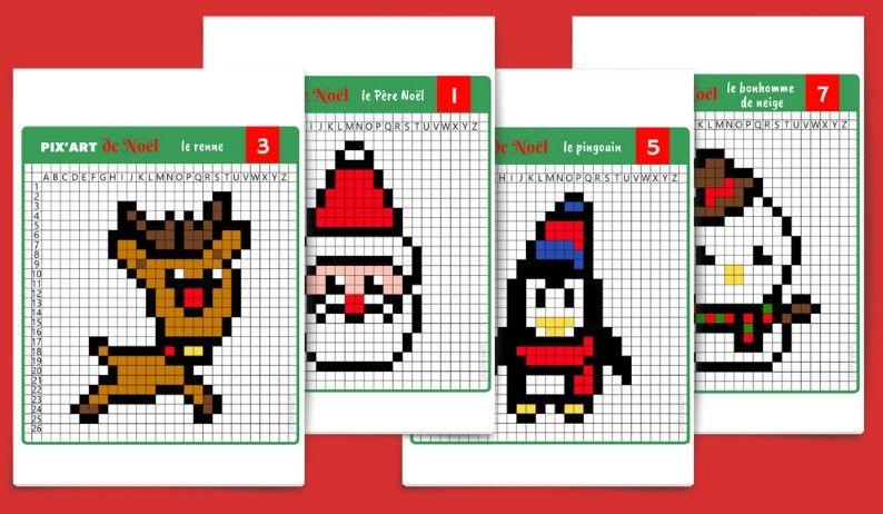 Pixel Art De Noël 12 Modèles à Imprimer Gratuitement