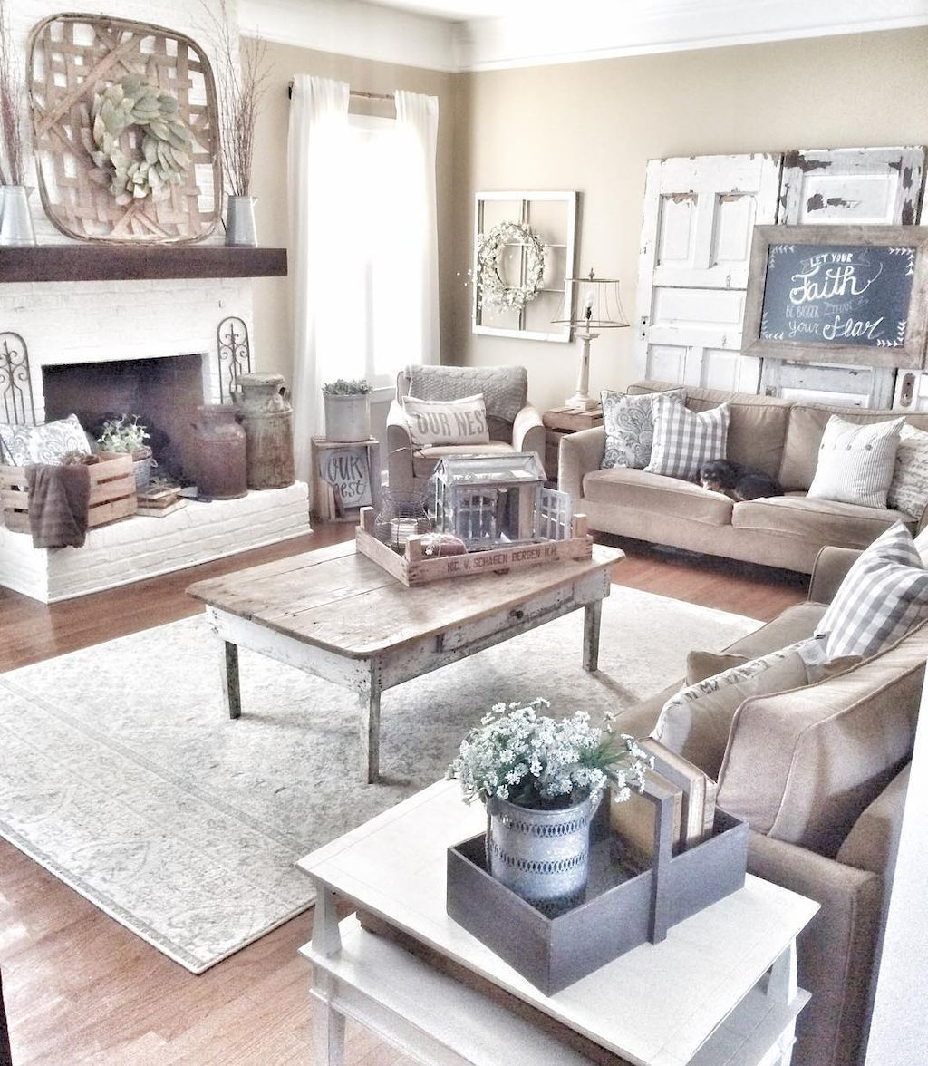 75 warm and cozy farmhouse style living room decor ideas (74 ...