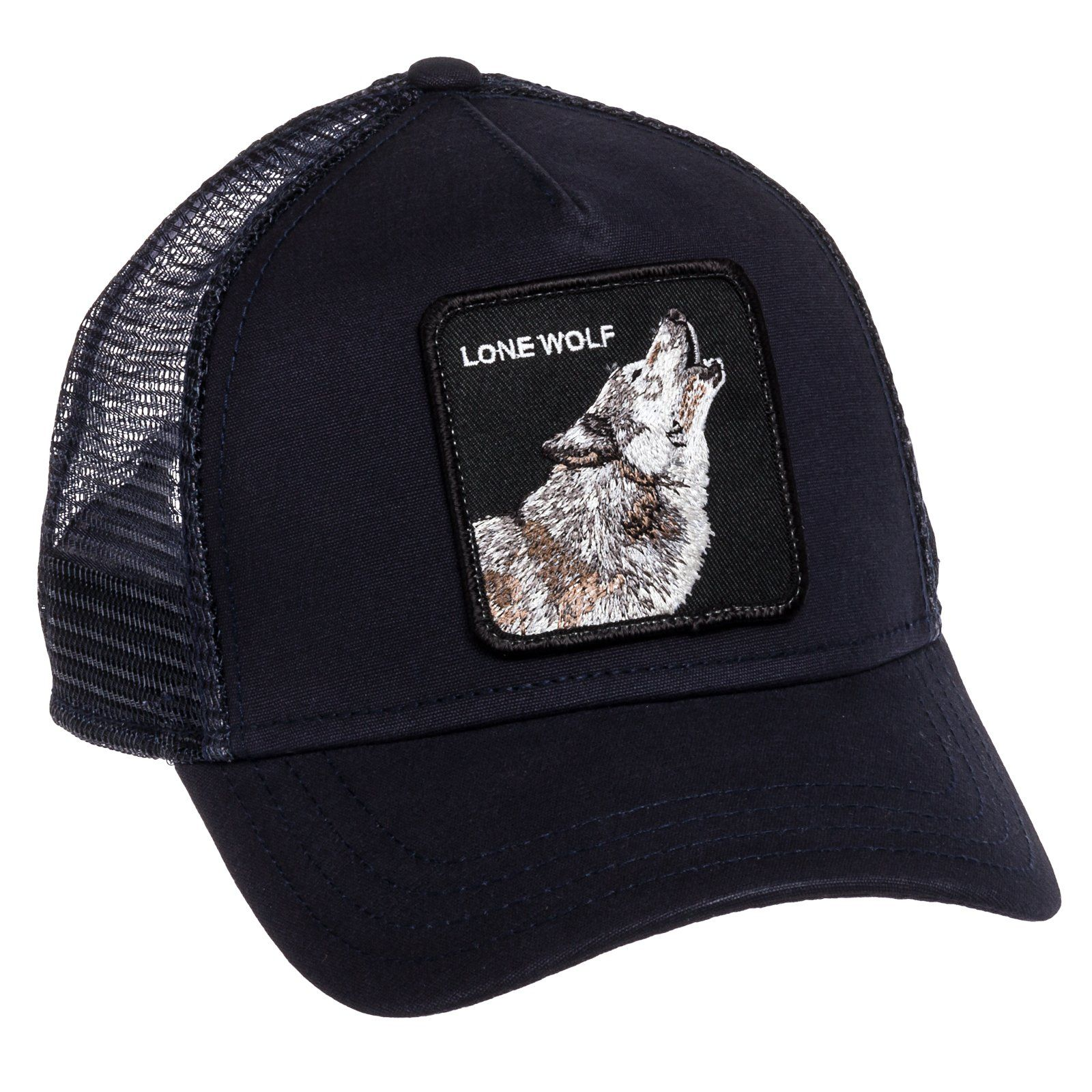 843a58e22bf77 Goorin Bros Mens Lone Wolf Animal Trucker Baseball Cap (Navy)