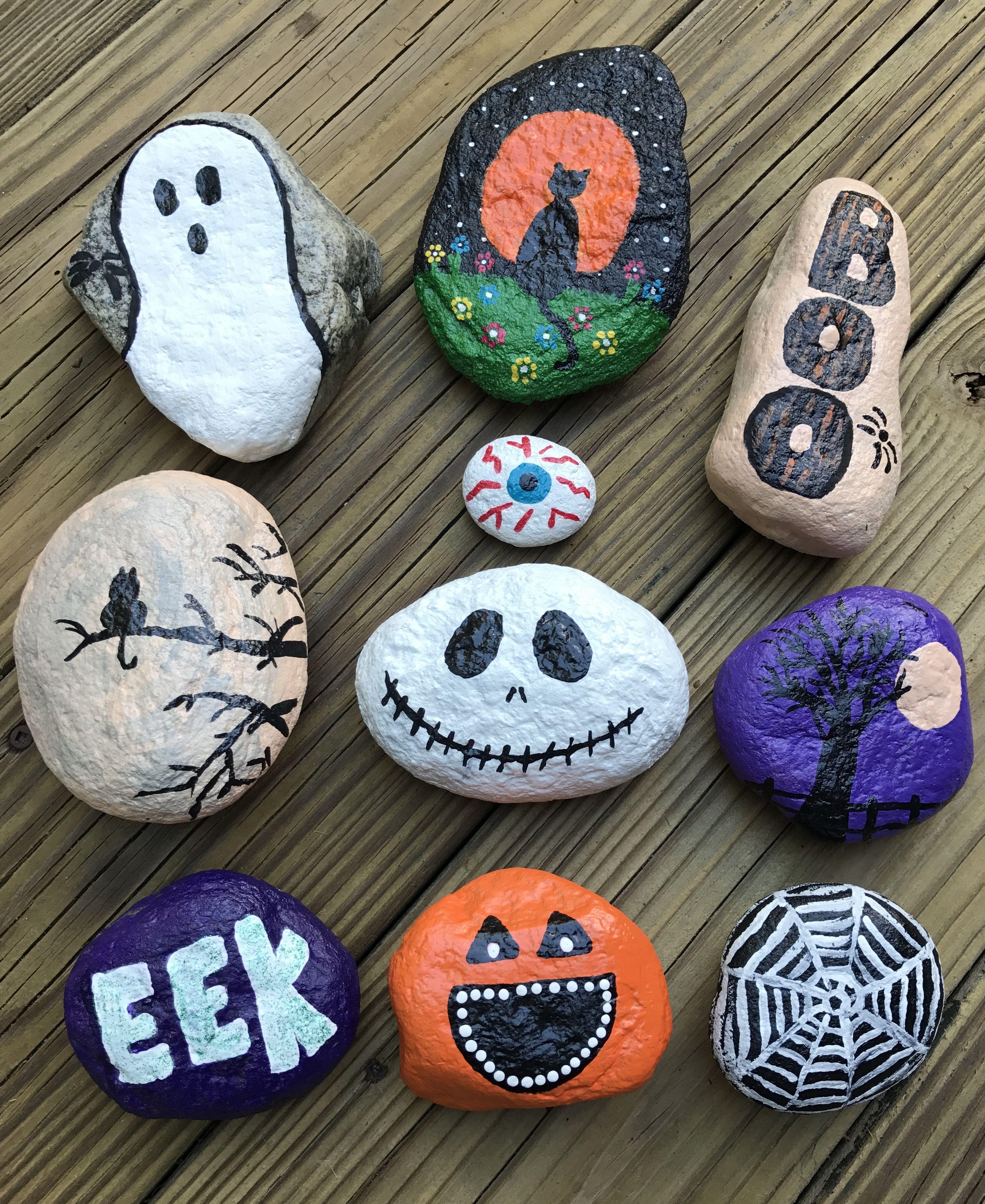 Halloween themed rock painting ideas Painted rocks diy