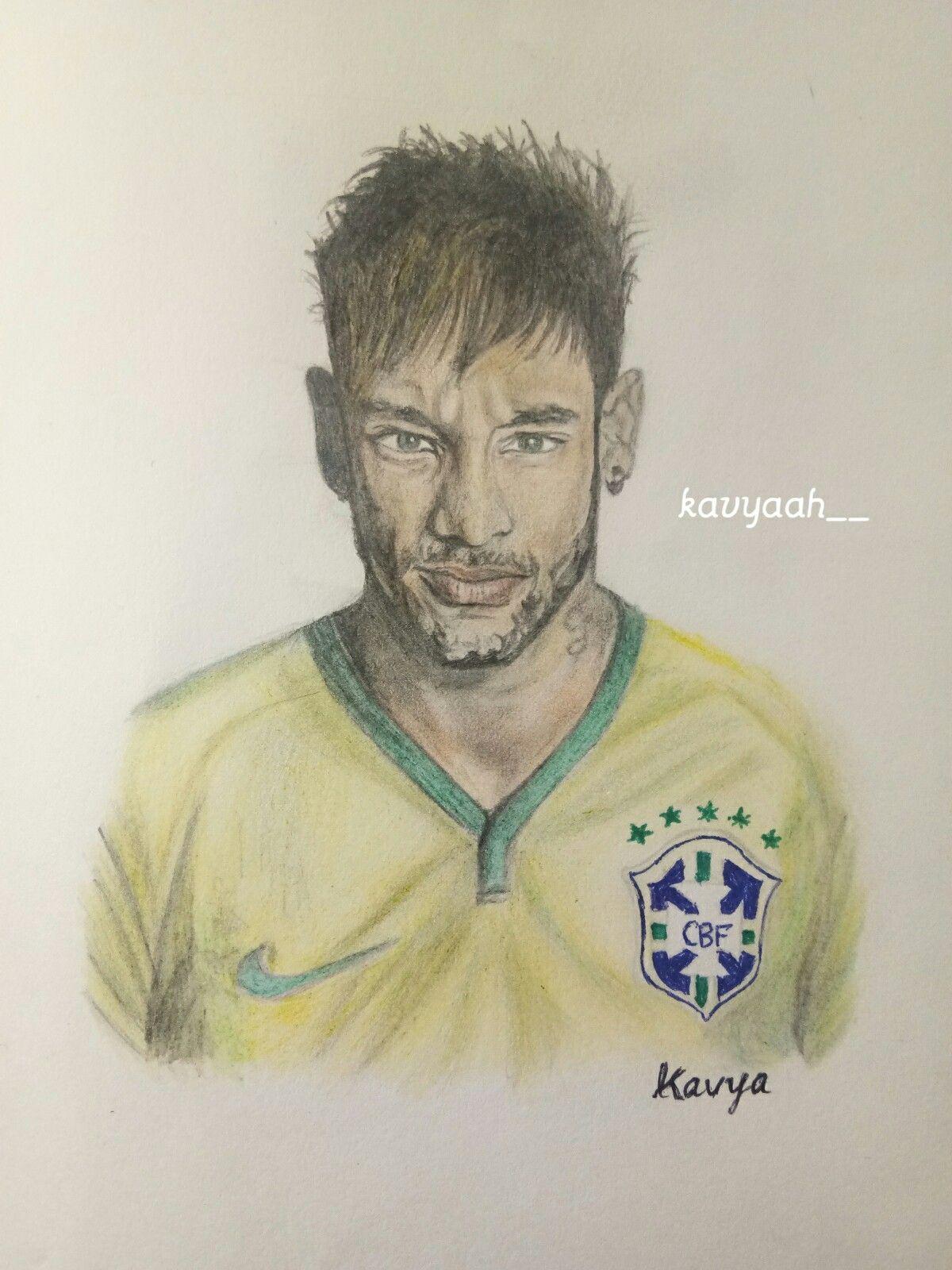 Neymar jr colour pencil sketch