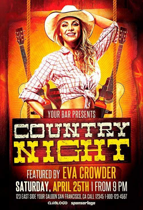 Western Country Night Flyer Template - http\/\/ffflyer\/western - comedy show flyer template